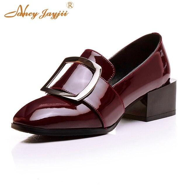 Loafer cuero genuino charol negro vino rojo mujeres bomba señora Oficina Metal hebilla decoración boda atractivo clásico dedo del pie cuadrado talón