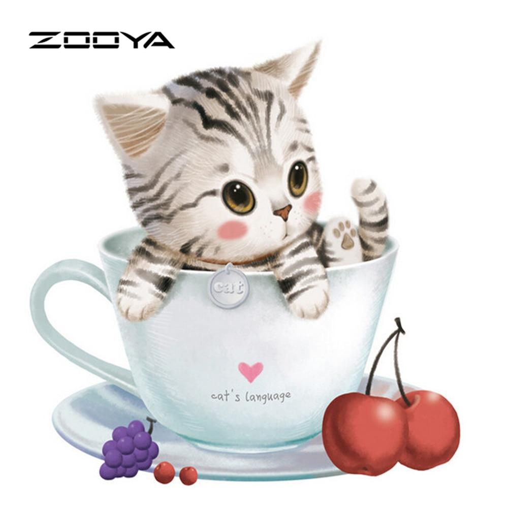 ∞Zooya diamante pintura cuadrado de dibujos animados belleza gato ...