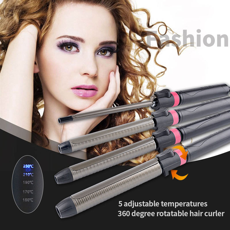 Image 5 - Professional Hair Salon Ceramic curling iron temperature adjustment Curling Wand hair curler Rotating curling irons hair curler styling tools-in Curling Irons from Home Appliances