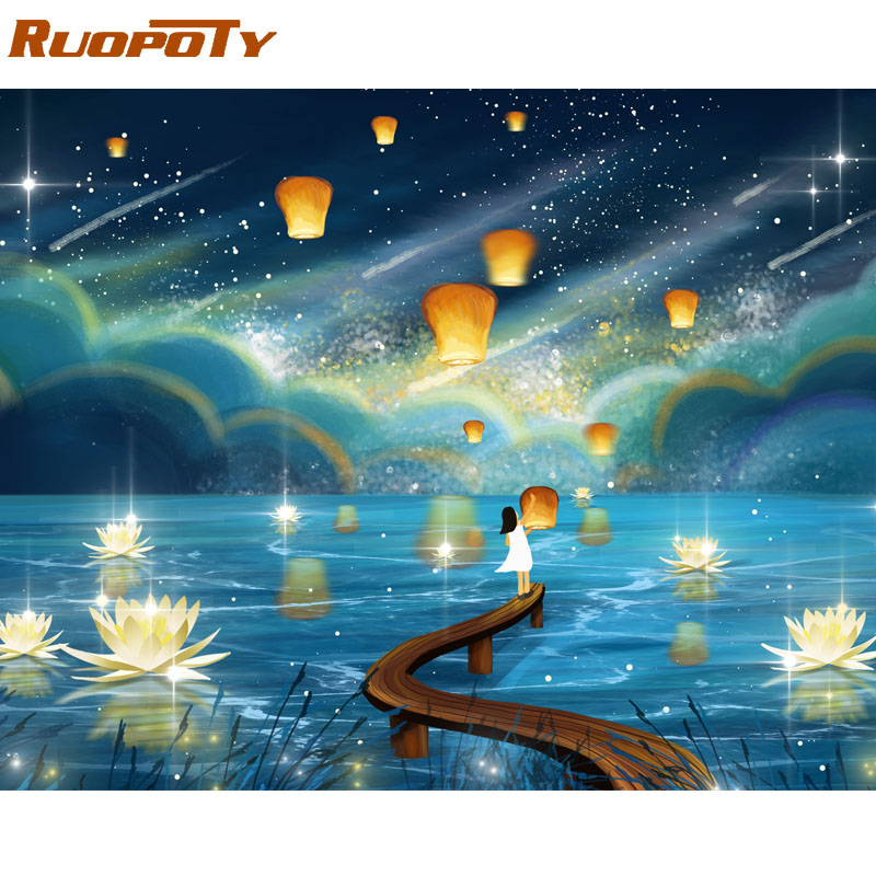 RUOPOTY Frame River Light DIY Painting By Numbers Kit Landscape Acrylic Paint By Numbers On Canvas RUOPOTY Frame River Light DIY Painting By Numbers Kit Landscape Acrylic Paint By Numbers On Canvas Handpainted Oil Painting Gift