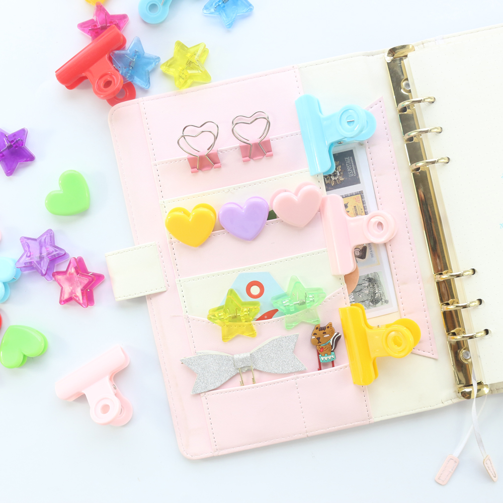 Domikee Candy Rainbow Color Office School Paper Clips Set Stationery,kawaii Student Memo Paper Clamps For Kids,2pcs