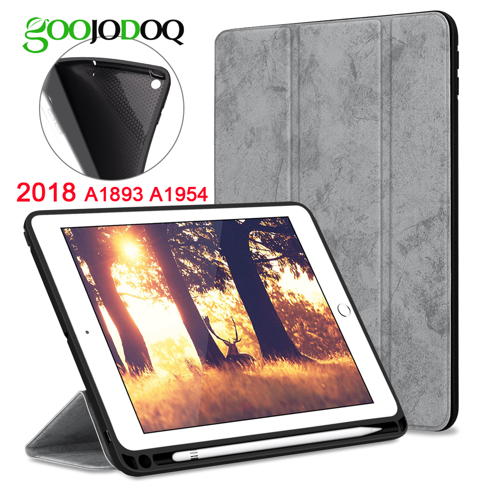 For iPad 9.7 2018 Case Pencil Holder,GOOJODOQ Ultra Slim PU Leather Smart Cover+ Soft Back Coque Stand for Apple iPad 2018 2017 2014 for samsung galaxy note 8 0 n5100 n5110 book cover ultra slim thin business smart pu leather stand folding case
