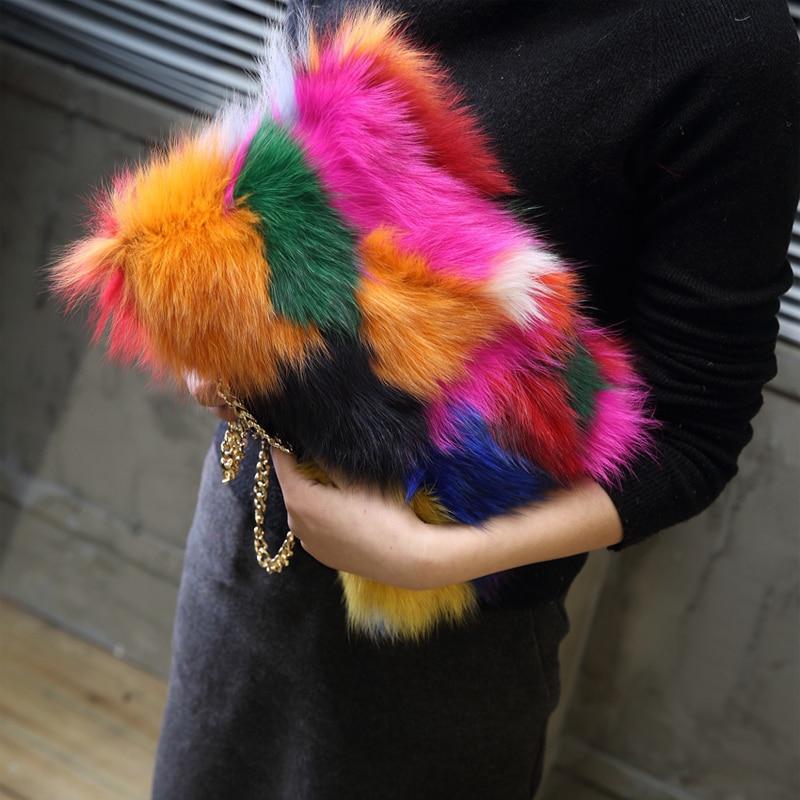 Nya 2019 Färgglada Riktiga Pälskvinnor Axelväska Räv Fur Causal Clutch Väska Läder Kvinna Väska Lady Kedjor Handväska Luxury Purse