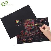 10 листов, волшебная скретч бумага для живописи с палочкой для рисования, детская игрушка, черная, 26 см X 19 см, Экологически чистая, без запаха, GYH