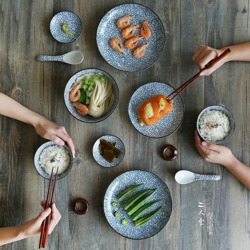 Japanese Ceramic Tableware Set China Dinner Set Porcelain Dinnerware Set  Kitchen Plate Dishes For Restaurant White