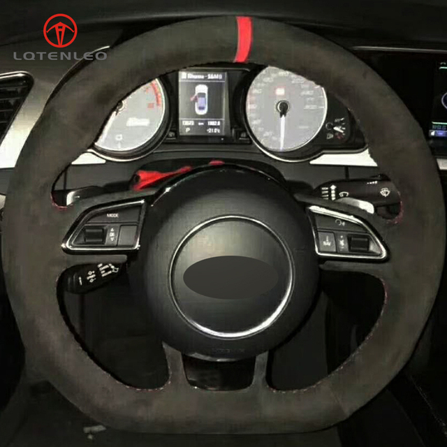 Lqtenleo Black Suede Diy Hand Stitched Car Steering Wheel Cover For