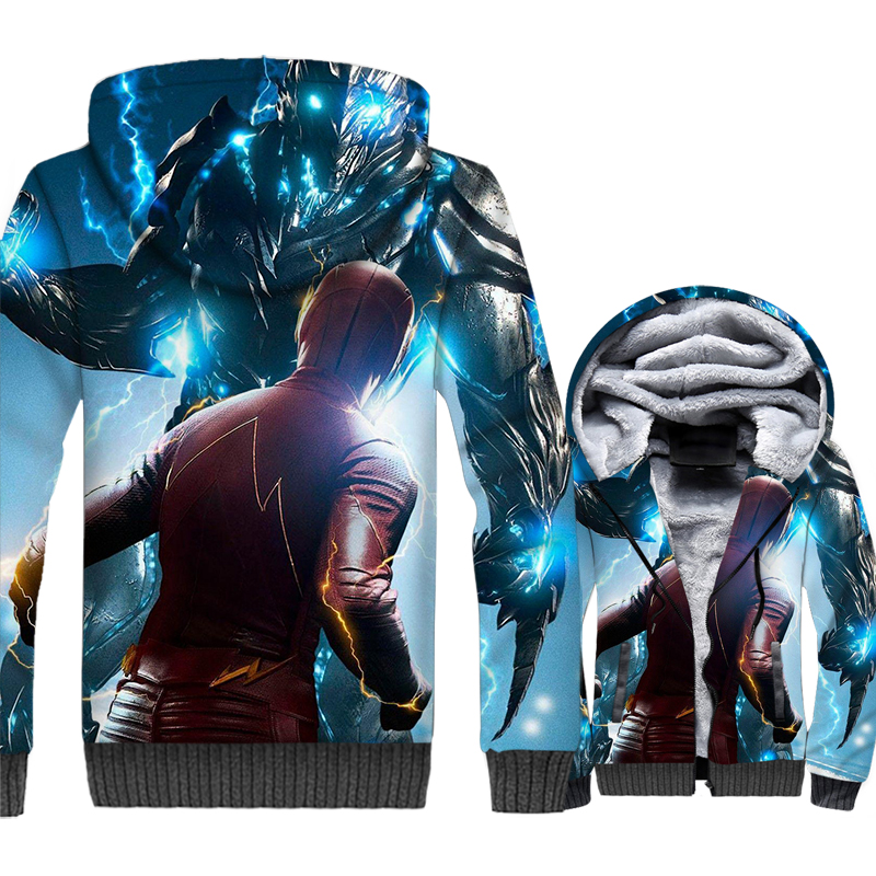 men casual wool liner jackets 2019 fashion high quality hooded tracksuits The Flash Super hero 3D prints tracksuits man's coats
