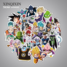 36pcs lot cartoon Dragon Ball stickers suitcase laptop skateboard motorcycle PVC toys Waterproof toy stickers