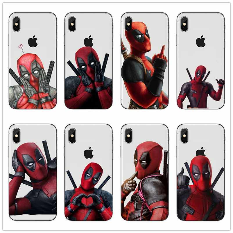Super Cool Marvel Deadpool Super Hero Soft silicone Phone Case Cover For iphoneX XSMax 8 8Plus 7 7Plus 6 6S 6Plus 5 5S SE