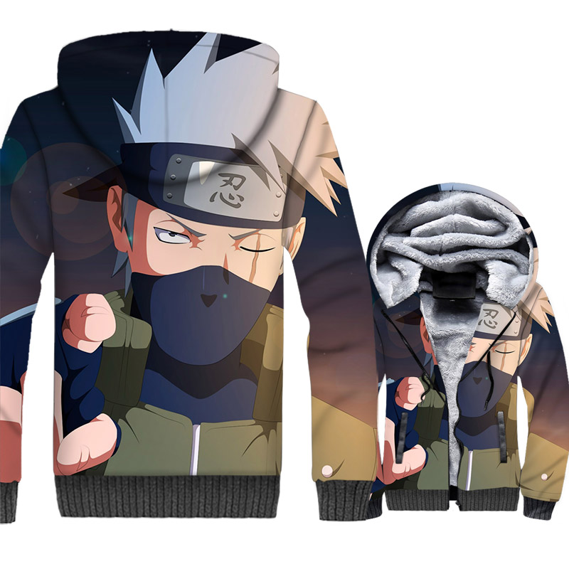 sweatshirt Anime Naruto Hatake Kakashi thicken swag plus coats male hooded 3D Print winter tracksuit 2018 men wool liner jackets