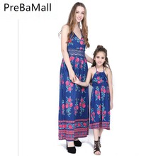 2019 New Summer Mother and Daughter Dress Sleeveless Strap Boho Floral Dresses Chic Sundress Family Look Clothes C75 family look clothes brand european black rose pleated a shape sleeveless skirts women midi sundress mother and daughter dresses