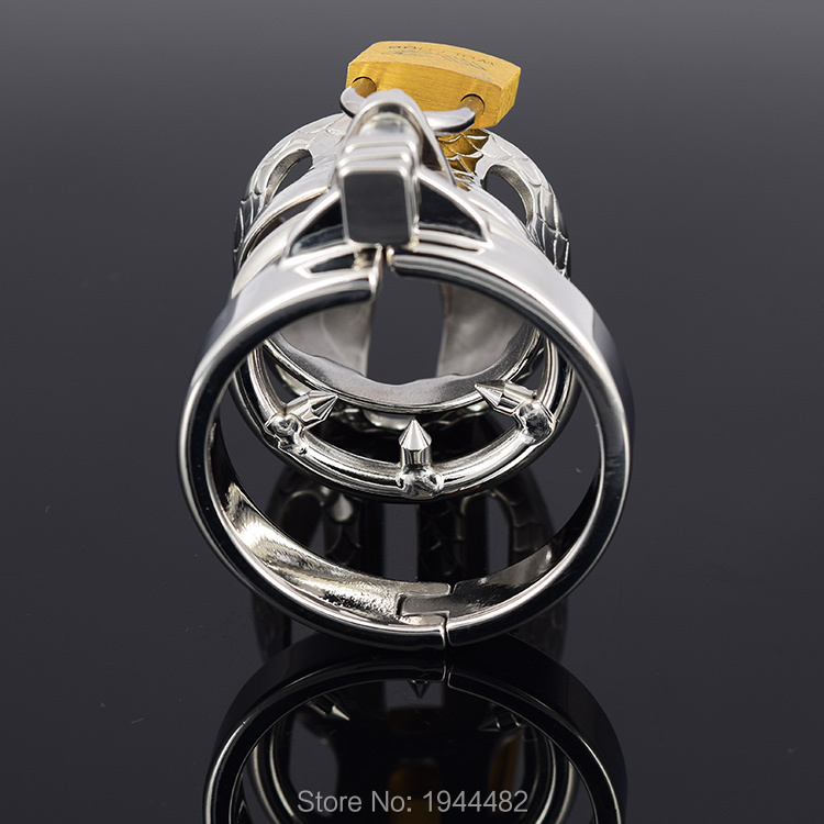 SODANDY Small Chastity Device Stainless Steel Cock Cage Metal Male Chastity Belt Penis Ring Bondage Sex Toys Dragon Totem Lock 6