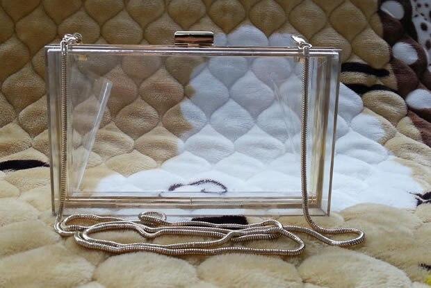 Žene prozirne čipke akril Perspex spojka jasno torbicu večer torbu - Torbe - Foto 2