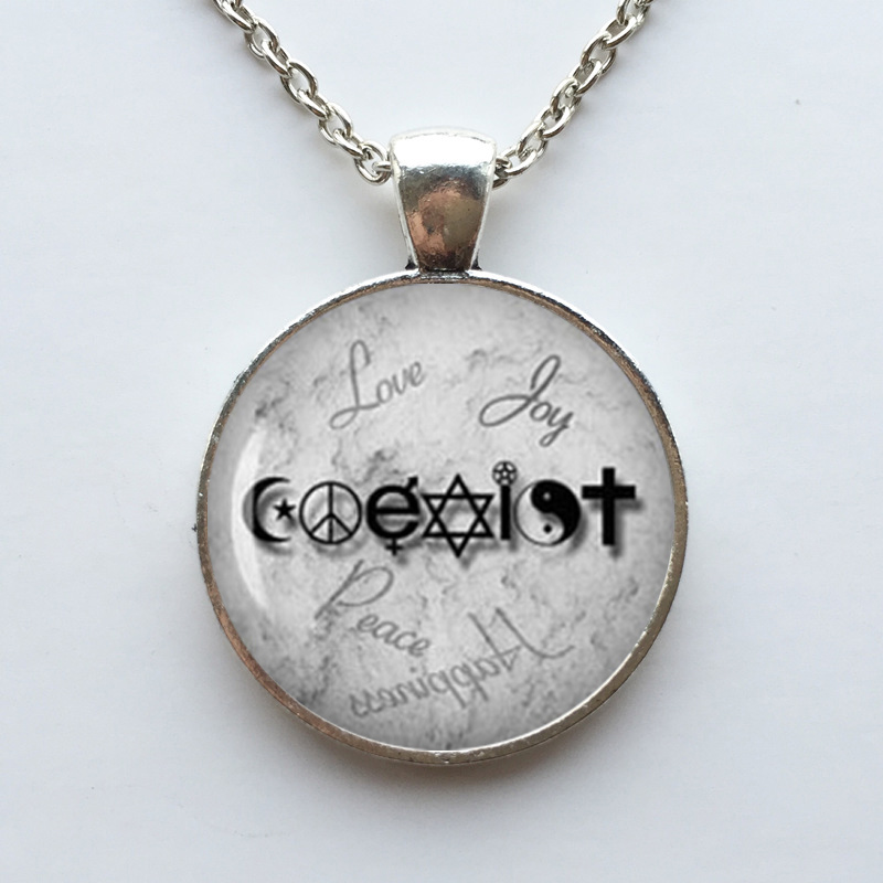 Wiccan coexist necklace love wicca jewelry glass dome pendant wiccan coexist necklace love wicca jewelry glass dome pendant necklace in pendant necklaces from jewelry accessories on aliexpress alibaba group aloadofball Gallery