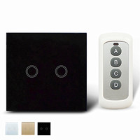 2 Gang 1 Way Remote Control Switch White Crystal Glass Switch Panel EU Wall Touch Switch