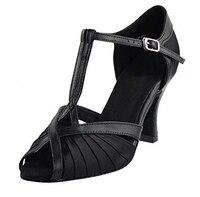 Zapatos De Baile 8 cm Heel Height Black Tan Salsa Shoes Open Toe Comfortable Woman Dancing Shoes Latin Shoes ZC33