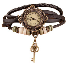 Relojes Para Mujer Watches Women Vintage Quartz Weave Around Leather Key Bracelet WristWatches Ladies Clock Gift Zegarek Damski