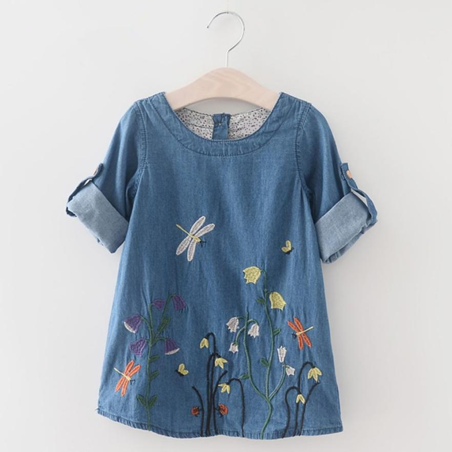 baby girl clothes 2018 Flower embroidery denim dress girls summer floral dress princess Childrens Costume Kids wear YL
