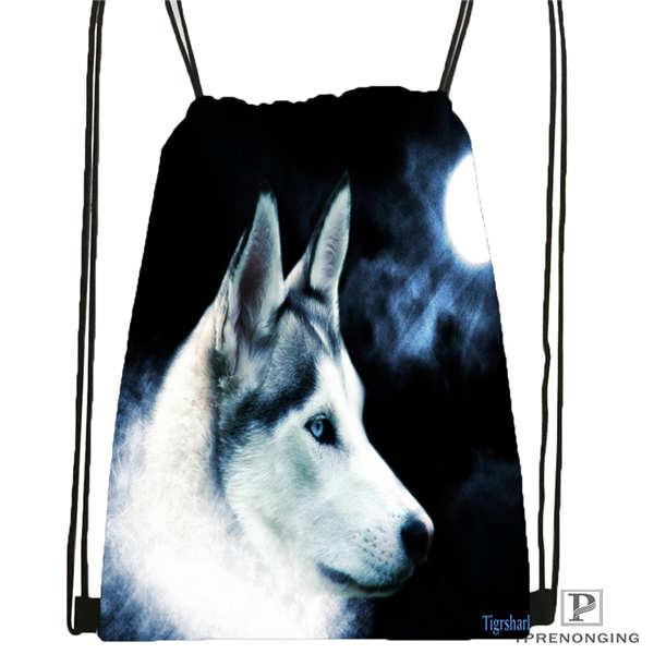 Custom Wolf_moon_by_kyghost@04- Drawstring Backpack Bag Cute Daypack Kids Satchel (Black Back) 31x40cm#180611-03-107