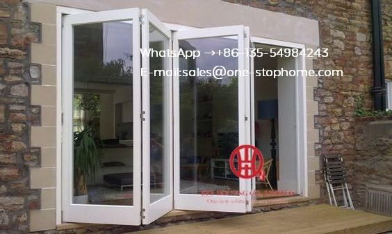 Aluminum Folding Door For Restaurant,Wood Color Surface Treatment Aluminium Profile Glass Folding Doors For Balcony Door
