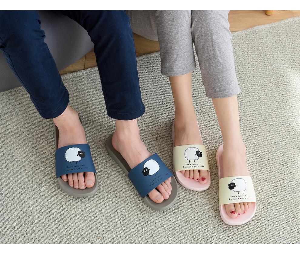 ASIFN Women Slippers EVA Men Slides Couple Cute Sheep Indoor Summer Loves Shoes Zapatos Mujer Flip Flops 36