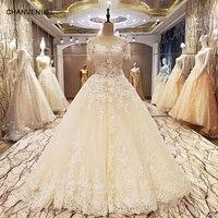 Factory direct LS55320 suknie ślubne frezowanie suknia balowa lace up powrót O neck krótkie rękawy abito da sposa 2017 rzeczywistym zdjęcia