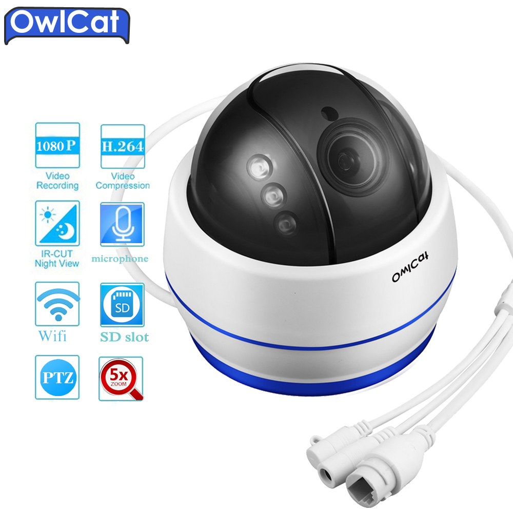 OwlCat HD 1080P PTZ Dome Security Wifi IP Camera Wireless 5x Optical Zoom Microphone Audio SD Card Night vision Network Cam P2P ремкомплект для динамика sica spare part cd95 44 com 8 ohm