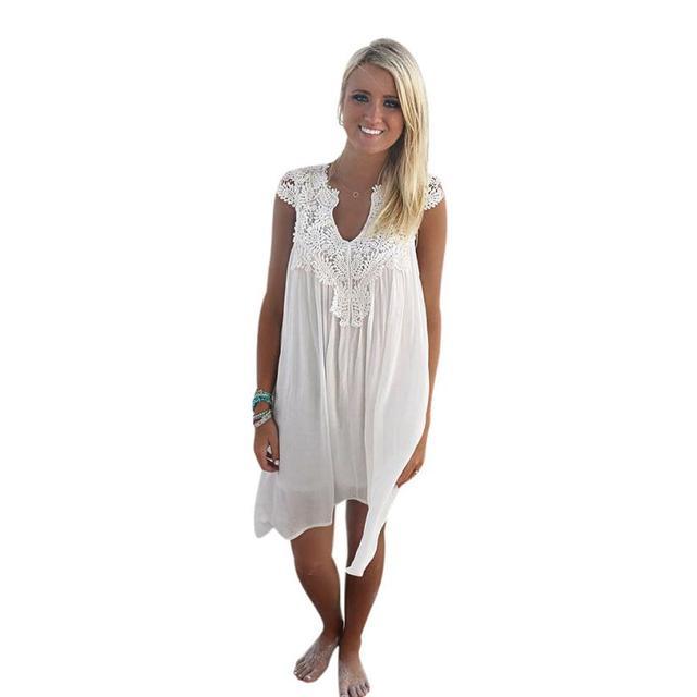 Сексуальные Женщины 2017 Летом Кружева Пляж Boho Рукавов Партия Мини Dress Выдалбливают Белое Кружево Summer Beach Dress Плюс Размер