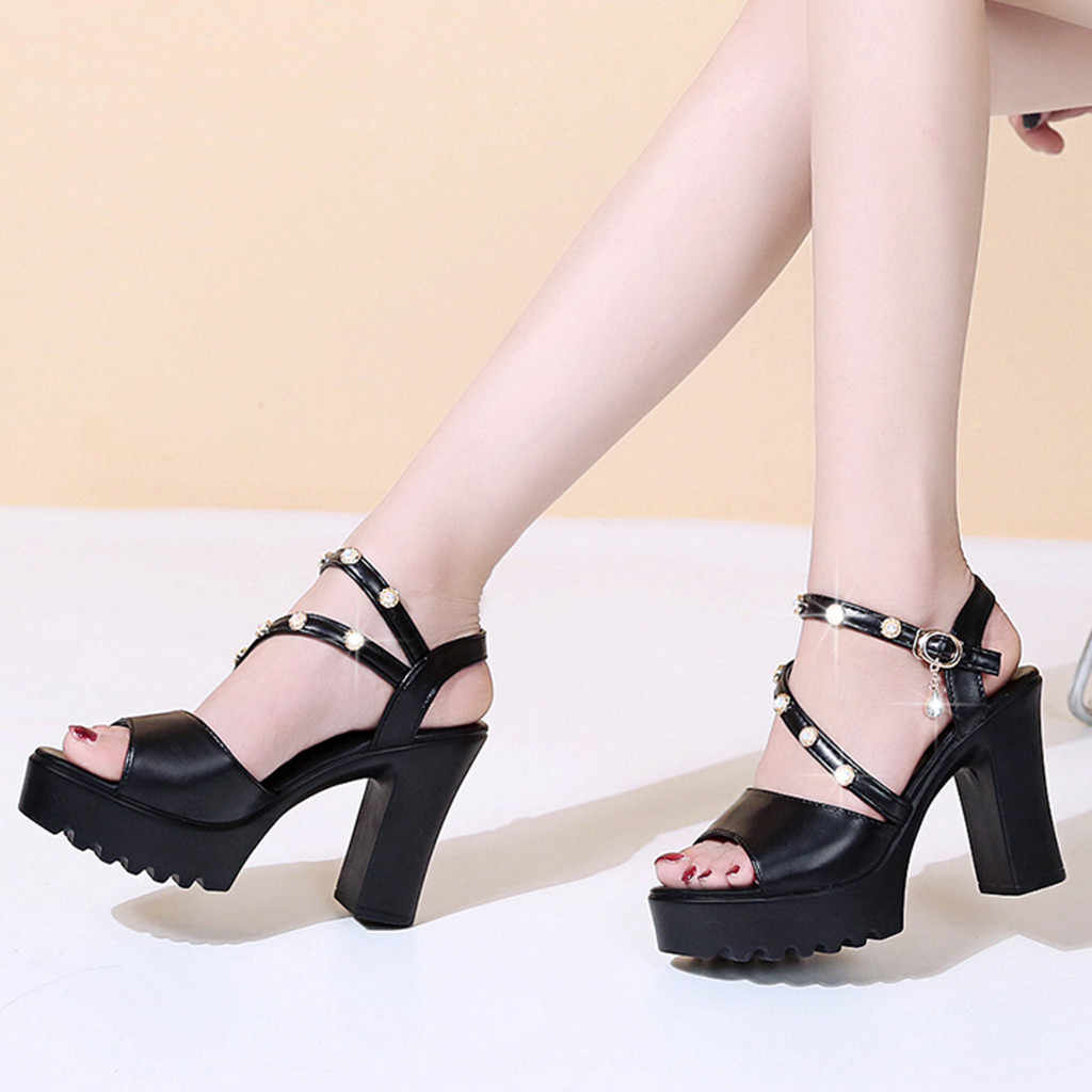 2019 femmes pompes sabot haut talon PU cuir Peep Toe noir solide blanc cristal cheville sangle dames chaussures de mariage taille 35-40