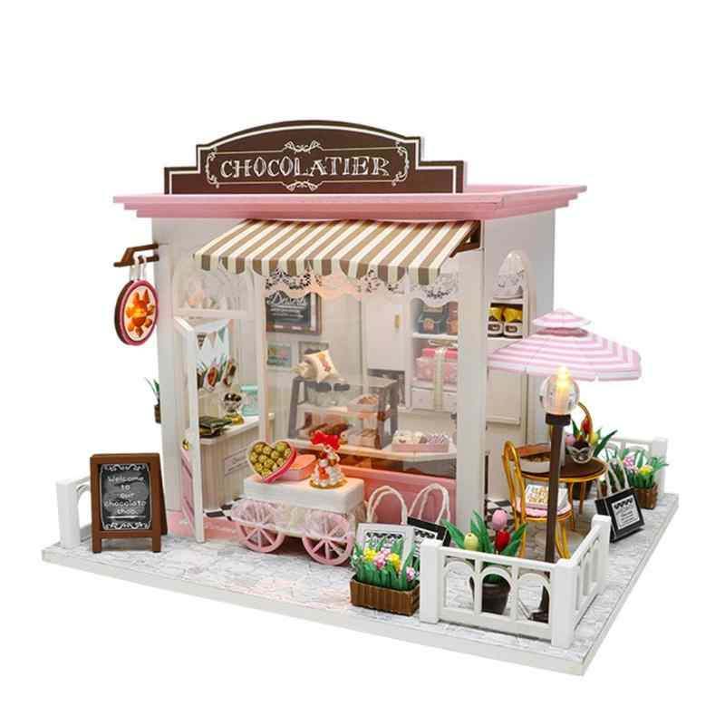 Кукольный домик ручной работы 3D Деревянный миниатюрный кукольный домик мебель С Пылезащитным покрытием Развивающие игрушки для детей подарок на день рождения для девочек