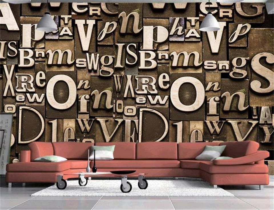 custom size 3d photo wallpaper mural living room English letter 3d photo painting sofa TV background wall non-woven wall sticker 3d room wallpaper custom mural non woven wall sticker tree trunk 3d printed bedroom tv wall painting photo wallpaper for walls