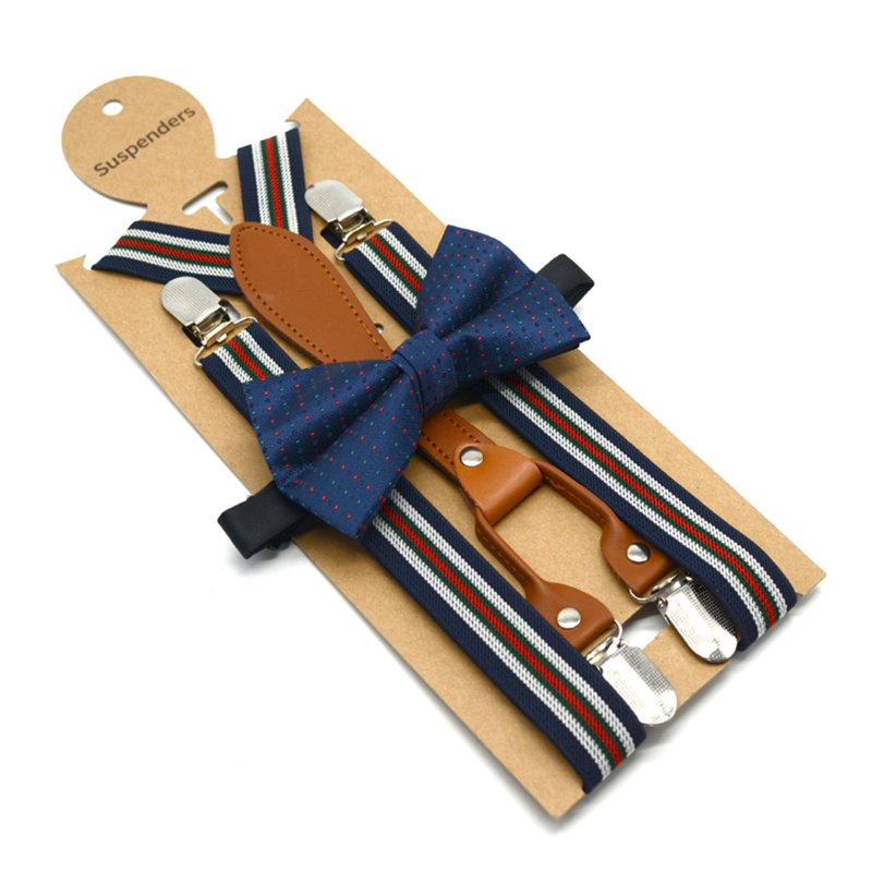 Fashion Bow Tie Suspenders Set England Casual Style Striped Design Resist Belt Soft Material Plastic Bag Package Low Price Set