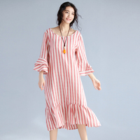 2017 Plus Size Women Cotton Linen Dress Vintage Female Stripe Loose Tunic Straight Long Dress Kaftan