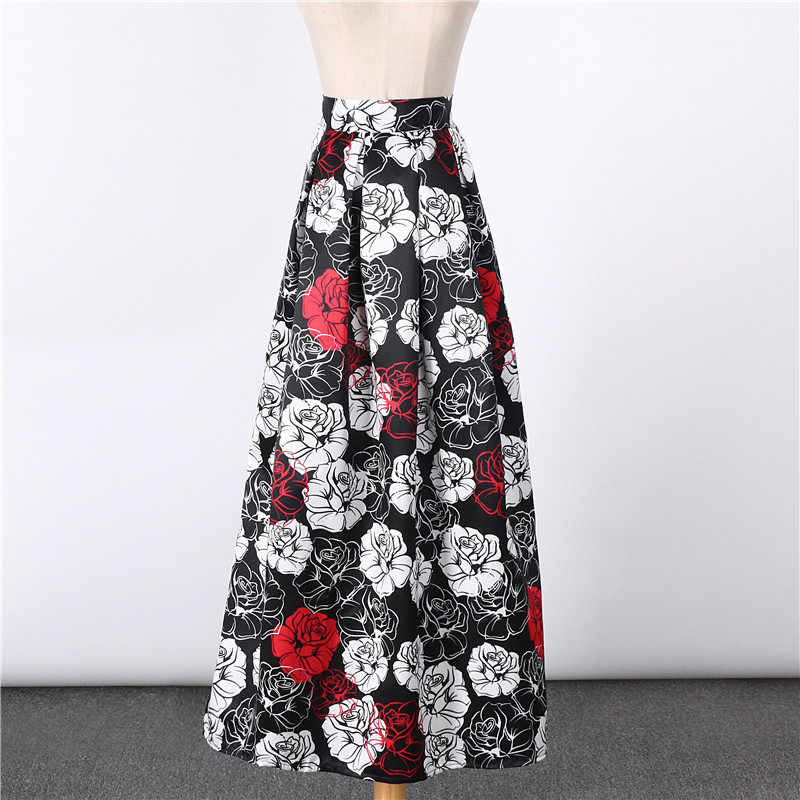 2369d2d850cb ... Colorfaith 2017 Satin Women 100cm Flared Maxi Skirts Puff Floral  Printed Pleated Floor-Length Long ...