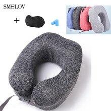 Ultralight folding travel neck pillow comfort memory foam u-shape neck support massage pillow with eye mask and ear plugs grey