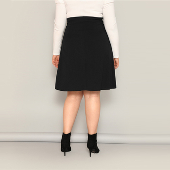 Plus Size Black High Waist Tie Side Skirt
