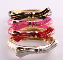 MOODPC Free shipping high quality gold enamel bowknot bangle bracelet for lady women cuff bangle Open Jewelry