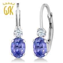 GemStoneKing 0.98 Ct Oval Natural Blue Tanzanite White Sapphire Leverback Earrings 925 Sterling Silver Drop Earrings For Women
