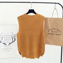 Women Sweater Winter&Autumn Casual Wild Sleeveless Sweater Vest Vest Hedging White Gray Black Khaki Navy As1612