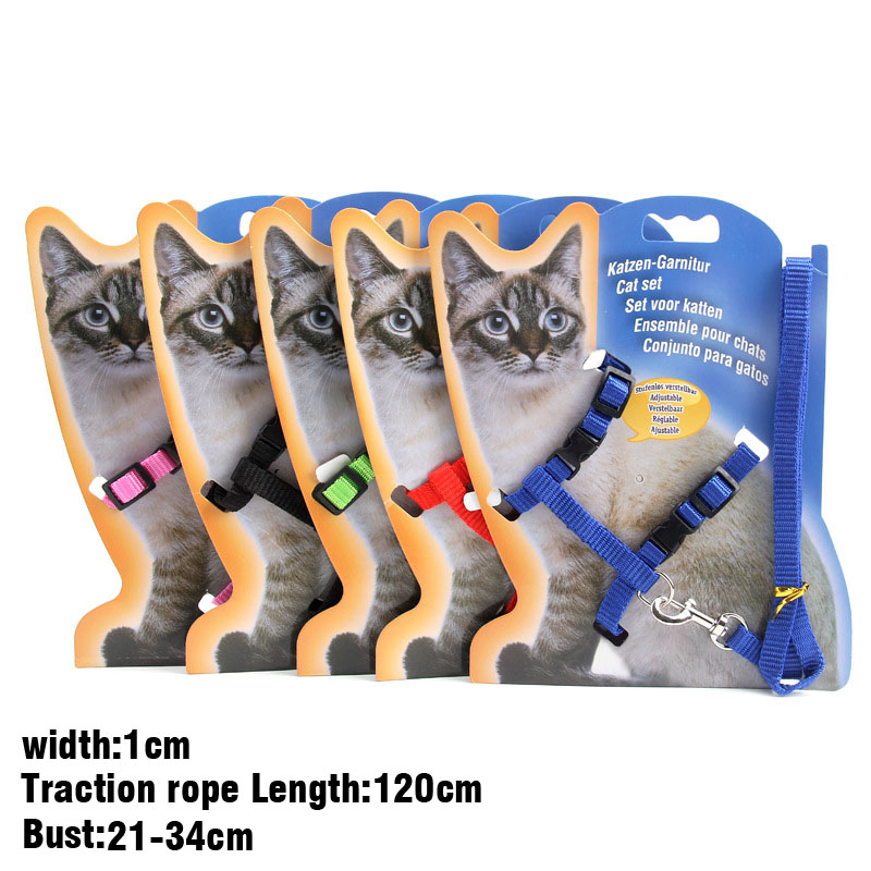 Cat Harness And Leash For  Kitten  Adjustable Pet Traction Harness Belt Cat Halter Collar Without Cardboard