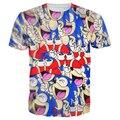 Azul Bonito camisetas the Hedgehog Super Sonic Personagens 3D t shirt Das Mulheres Dos Homens de Moda Moderno Dos Desenhos Animados t-shirts camisetas