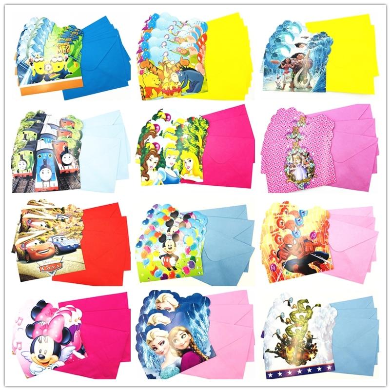 Hot Sale 6pcs Set Paper Birthday Invitation Card Children Cartoon