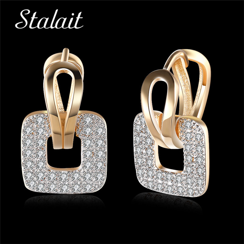 Hollow Square White Zircon Clip Earrings for Women Gold Color Fashion Jewelry Earrings Female Valentines Day Bridal