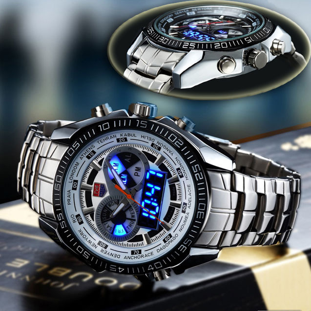Stainless steel strap alloy case alarm 50m diving waterproof led display luminous military navy for Watches navy seals use
