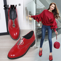 Flats Women Spring Shoes Loafers Patent Leather Low Heels Slip On Footwear Female Pointed Toe Thick Heel black red