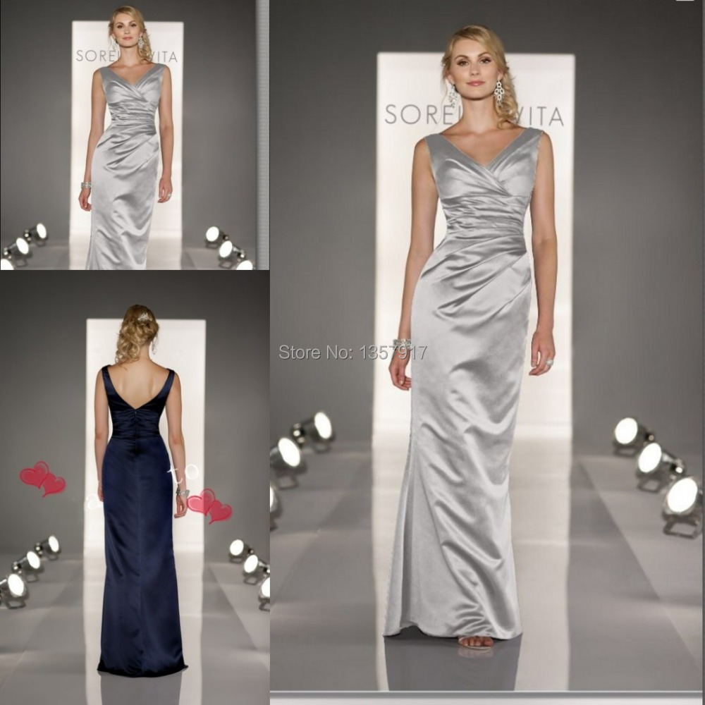 Popular silver long bridesmaid dress free shipping buy cheap silver grey bridemaid dresses long v neck satin sheath spaghetti straps navy blue bridesmaid dresses ombrellifo Image collections
