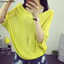 2016 new hot women's spring summer thin slash neck candy color knit sweaters woman big yards loose pullover tee 11 colors