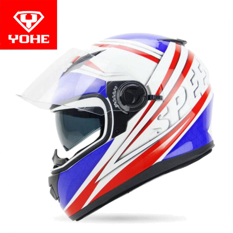 2017 Autumn Winter YOHE Double lens full face motorcycle helmet YH970 Knight safety protection Moto Racing helmets made of ABS