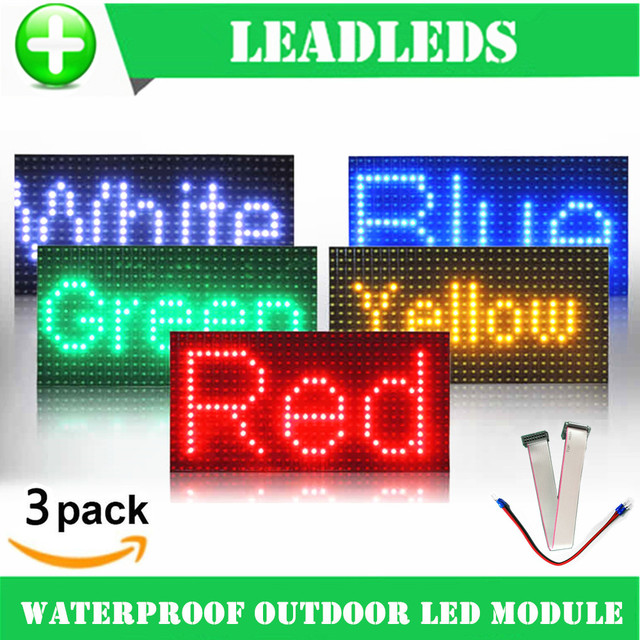 3PCS 32*16 waterproof P10 Outdoor Red Green Yellow Blue Led module for single color P10 led message display module