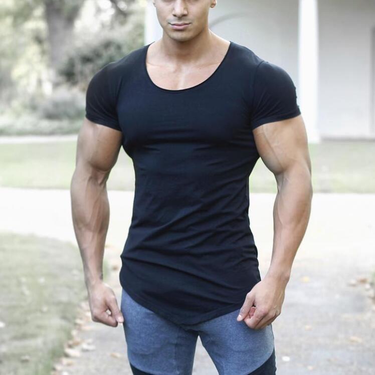 Brand Solid Clothing Gyms T-shirt Mens Fitness Tight T-shirt Cotton Slim Fit T Shirt Men Bodybuilding Summer Top Blank Tshirt